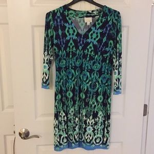 Donna Morgan blue and green patterned dress